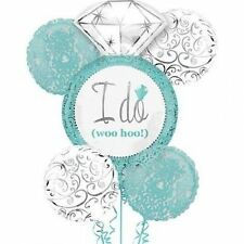 Robin's Egg Blue I DO Wedding Ring 5-pc Bouquet Balloon Engagement Bridal Shower