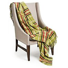 Johnstons of Elgin Limited Lambswool Throw Blanket -Grn/Black/Red Plaid Check-