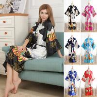 Women Kimono Long Robe Wedding BRIDE Bridesmaid Silk stain Floral Bathrobe Plus