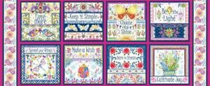 Gypsy Dreams Butterfly Sayings 8 Panel 100% Cotton Print Fabric
