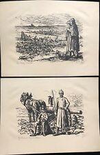 LUCE MAXIMILIEN GUERRE 14 18 DEUX LITHOGRAPHIES EN NOIR