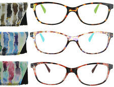 Womens Reading Glasses Square Frame Retro Colorful Fashion Readers with Case