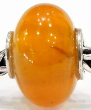 NATURAL AMBER BEAD AUTHENTIC 925 STERLING SILVER EUROPEAN CHARM BEADS AM 1