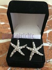 SWAVORSKI CRYSTAL Starfish Pierced Rhodium Plated Earrings RHONY BRAND NEW