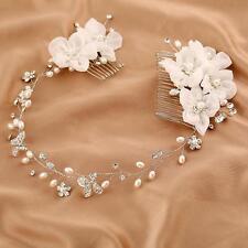 élégant mousseline Floral Nuptial Halo cristal BORDEAUX PERLE perlé mariage