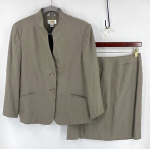 Talbots Suit Sz 12 Petite Taupe Tan Blazer & Pencil Skirt Career Italian Fabric