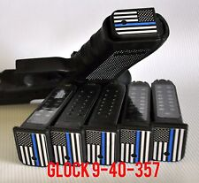 GLOCK 9MM/40 CAL THIN BLUE LINE FLAG Magazine Base Plate STICKERS  Set of 6