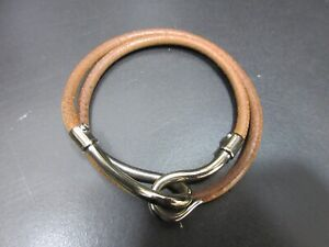 Authentic HERMES Jumbo Bracelet Silver plating Leather Brown 93597