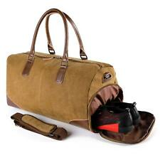 Travel Duffle Bag for Men Casual Canvas Leather Weekend Bags with Shoe Pockets C