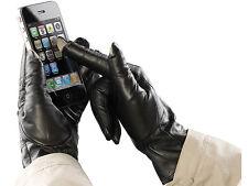 Leder Touchscreen Handschuhe Für Damen Herren M Schwarz Apple Samsung Universal