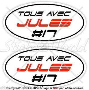 "JULES BIANCHI #17 TOUS AVEC 75mm (3"") Sticker Adesivo Aufkleber Autocollant x2"