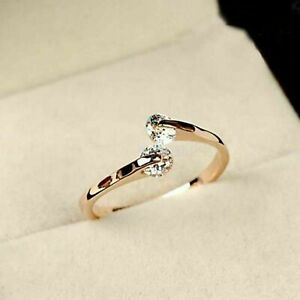 18K Gold Plated Womens Engagement Rings Elegant Rose White Topaz Wedding Jewelry