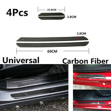 4Pcs 60CM+25CM Carbon Fiber Car Scuff Plate Door Sill Cover Panel Step Protector