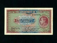 Malta:P-18,2 Shillings & 6 Pence,1940 * King George VI * VF-EF *