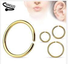 22g 20g 18g 16g 14g Seamless Annealed Gold Hoop Ring Nose Lip Cartilage Septum