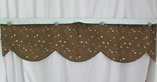 2 Custom made Scalloped Brown Blue Polka Dot Button Valances 49 x 13 Lined