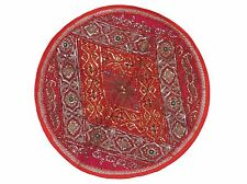 """Red Round Tapestry Floor Pillow Cover Handmade Couch Bohemian Large Cushion 26"""""""