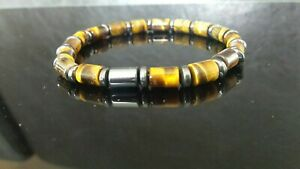 Mens bead bracelet Tiger's Eye hematite tube beads stretch 6mm