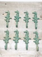 8 Cast Iron Antique Style SEAHORSE Coat Hooks Hat Hook Rack Bath Nautical Beach