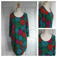 GUDRUN SJODEN Lyocell / Cotton Polka Dot Dress Size S Multi Tunic Pocket