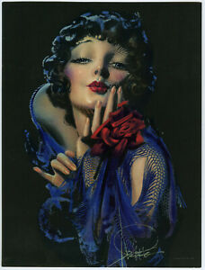 Rolf Armstrong 1930s Antique Art Deco Flapper Vamp Pin-Up Print Blowing Kiss