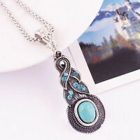 Tibetan Silver Blue Turquoise Chain Crystal Pendant Necklace NEW Fashion Jewelry