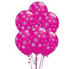 "5 pcs 12"" Pink Snowflakes Sparkles Kids Balloons Birthday Party Decoration"
