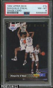 1992 Upper Deck Trade Card #1b Shaquille O'Neal Magic RC Rookie HOF PSA 8 NM-MT
