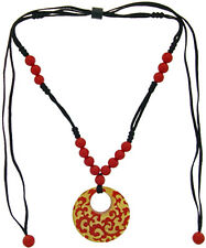 ZSISKA Baroque Donut Adjustable Pendant. Red with 24kt Gold Leaf Inlay