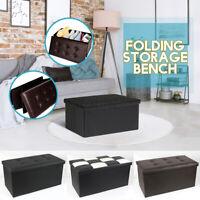 US 30'' Folding Storage Ottoman Bench Box Lounge Leather Seat Foot Rest Stool