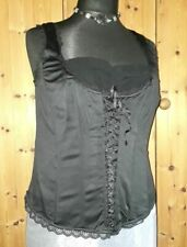 2241545e4 Black Inspire 20 Basque Bustier New Bnwot New Look Corset Side Zip Plus