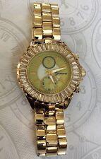 Geneva Women's Watch Oversize Crystal Round Dial on Nice Bracelet Beauty