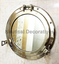 "17"" Metal Ship's Cabin Silver Porthole Wall Mirror Nautical Ships Beach Decor"
