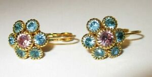 Vintage JOAN RIVERS PINK AND BLUE CRYSTAL FLOWER LEVER BACK PIERCED EARRINGS