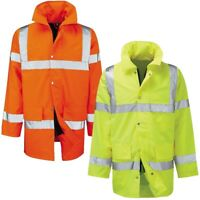 Mens Hi Vis 3/4 Waterproof Jacket High Visibility Viz Padded Work Coat