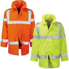 Mens Hi Vis 3/4 Waterproof Jacket High Visibility Viz Padded Work Coat