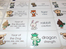 Chinese Zodiac Flashcards.  Preschool Picture and Word Flashcards for children.