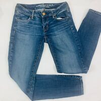 American Eagle Womens Jeans 2 Blue Jegging Super Stretch Skinny Whiskers