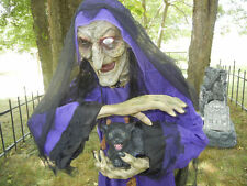 ANIMATED LIFE SIZE 6 FOOT * WITCH with PET CEMETERY CAT * TALKING HALLOWEEN PROP