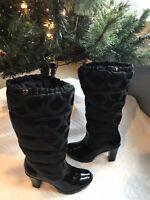 Women's COACH LORYN LEATHERWARE Black PATENT Winter C Logo Boots Size 8 HEEL