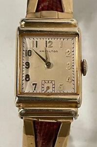 Vintage HAMILTON 982 19 Jewles 14k Gold Filled Art Deco Mens Watch
