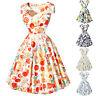 AÑOS 50 60 Floral Retro Vintage Swing Pin-Up Vestido Cóctel Te De Fiesta