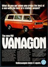 1980 VW Vanagon photo orange white vintage Volkswagen print ad