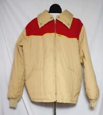 Vintage 70's Mens Kent Feeds Size XL Tan Quilted Puffer Jacket Red Corduroy USA