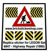 Precut Custom Replacement Stickers voor Lego Set 6647 - Highway Repair (1980)