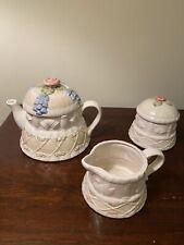 New ListingFitz & Floyd Wedding Cake Teapot Sugar Creamer 5 Pc
