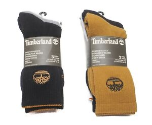Timberland Men's 3 Pack Crew Socks Multicolor Pack Wheat, Black White. Gray