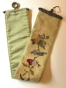 """Needlepoint Birds & Flowers Bell Pull w/Brass Hardware Vtg 36"""" Completed Piece"""