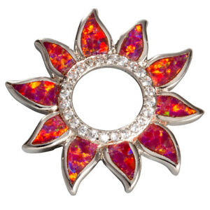 Sunflower Ruby Red Fire Opal Circle CZ Silver Jewelry Necklace Pendant
