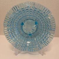 Stunning Vintage Ice Blue Aqua Ruffle Edge Footed Candy Dish Fruit Bowl